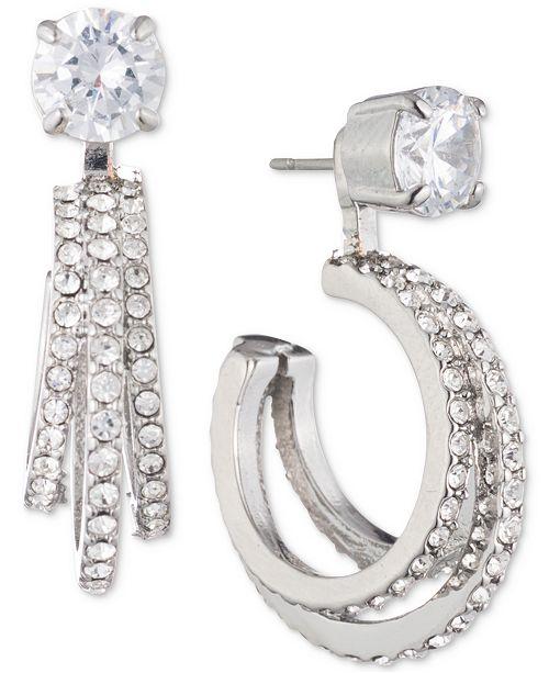 Carolee Silver-Tone Crystal Triple-Hoop Jacket Earrings