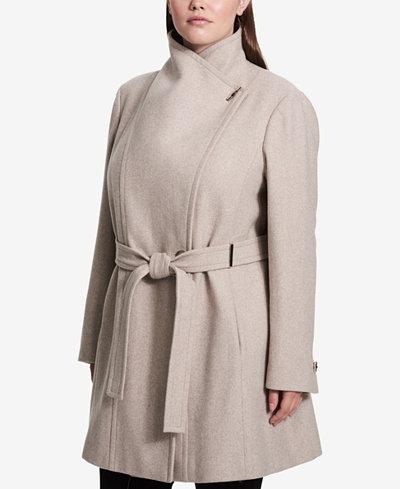 Calvin Klein Plus Size Belted Asymmetrical Walker Coat