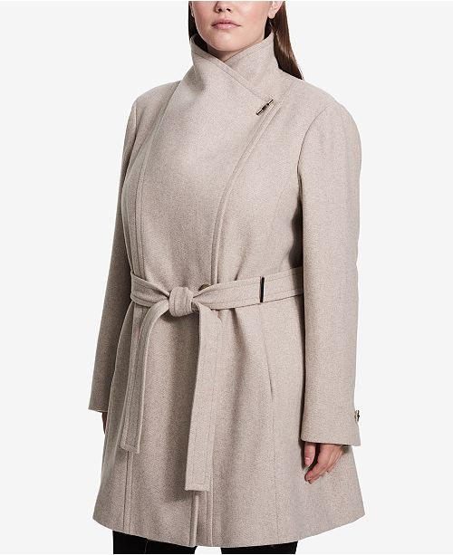 d7e93ccfe16a8 Calvin Klein Plus Size Belted Asymmetrical Walker Coat   Reviews ...