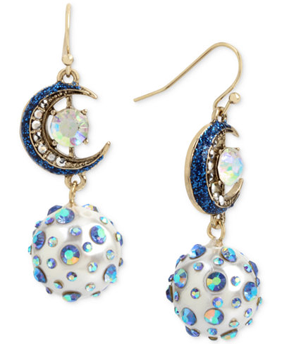 Betsey Johnson Gold-Tone Crystal Moon & Imitation Pearl Drop Earrings