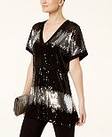 INC International Concepts Colorblocked Sequined Tunic, Created for Macy's