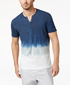 I.N.C. Men's Split-Neck Dip Dyed T-Shirt, Created for Macy's
