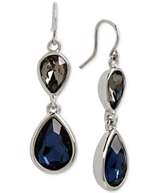 Kenneth Cole New York Silver-Tone Stone Double Drop Earrings
