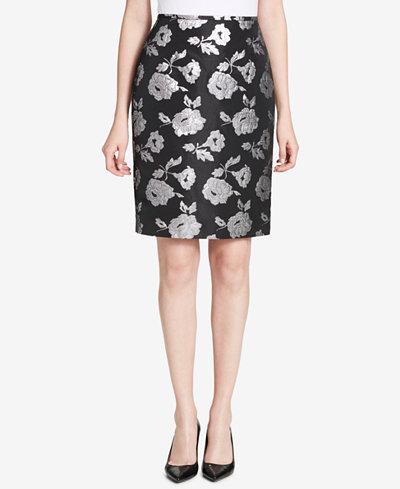 Calvin Klein Metallic Damask Pencil Skirt