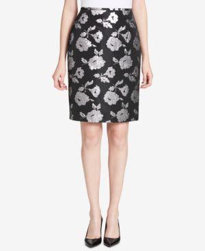 Calvin Klein Metallic Damask Pencil Skirt thumbnail