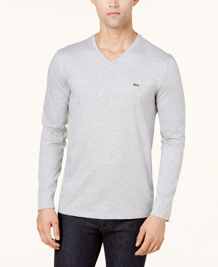 Lacoste - T Shirt, Long Sleeve Jersey V Neck