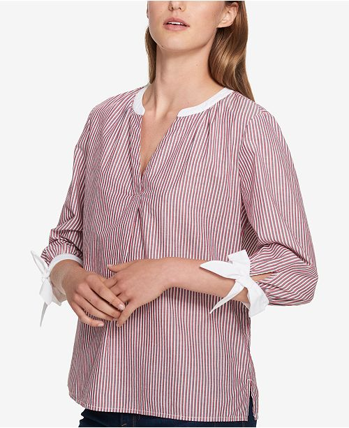 ... Tommy Hilfiger Striped Tie-Sleeve Blouse a6e422fad