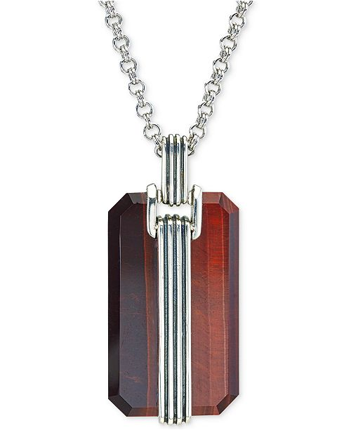 Esquire Men's Jewelry Red Tiger's Eye Pendant Necklace in Sterling Silver, Created for Macy's