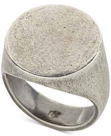 DEGS & SAL Men's Distressed Circle Signet Ring in Sterling Silver