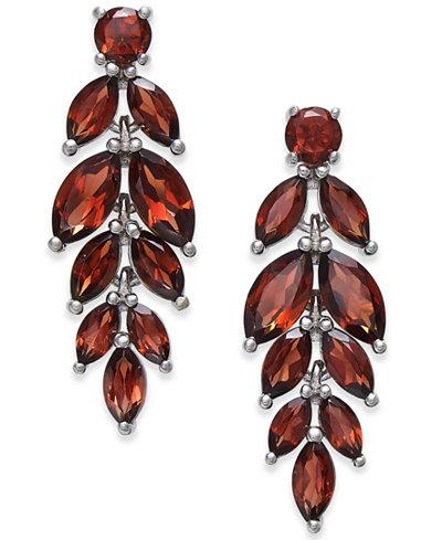 Rhodolite Garnet Vine Drop Earrings (7 ct. t.w.) in Sterling Silver