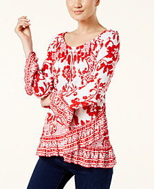 I.N.C. Printed Asymmetrical Ruffle-Hem Top, Created for Macy's