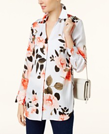 I.N.C. Ruched Floral-Print Shirt, Created for Macy's
