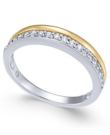 Diamond Two-Tone Band (1/4 ct. t.w.) in 14k Gold & White Gold