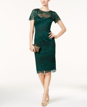 DONNA RICCO Lace And Mesh Short-Sleeve Dress in Emerald