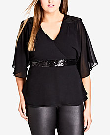 City Chic Trendy Plus Size Sequin Wrap Top