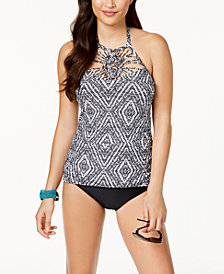 Island Escape Diamond Bay Printed High-Neck  Shirred Tankini Top & High-Waist Control-Top Bikini Bottoms, Created for Macy's