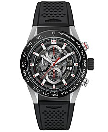 Men's Swiss Automatic Chronograph Carrera Black Rubber Strap Watch 43mm
