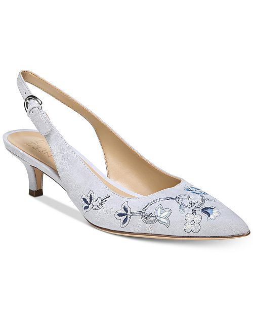 Peyton 2 Suede Floral Embroidered Slingback Pumps RCPDIj
