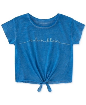 Calvin Klein TieFront LogoPrint Cotton TShirt Big Girls (716)