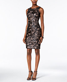 Ivanka Trump Illusion Sequined Sheath Dress