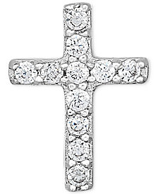 Diamond Accent Cross Single Stud Earring in 14k White Gold