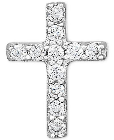 Diamond Accent Cross Single Stud Earring in 14k White Gold
