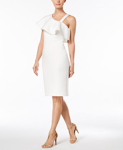 Calvin Klein One-Shoulder Flounce Dress