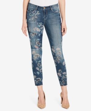 Vintage America Boho FloralPrint Ankle Skinny Jeans