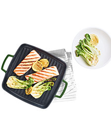 "Martha Stewart Collection 11"" Enameled Cast Iron Grill Pan, Created for Macy's"