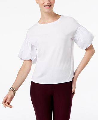Cable & Gauge Woven Bubble-Sleeve Knit Top