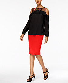 Thalia Sodi Embroidered Cold-Shoulder Top & Pencil Skirt, Created for Macy's