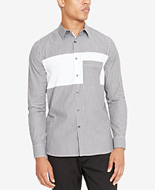 Kenneth Cole Reaction Men's Pieced Colorblocked Stripe Pocket Shirt