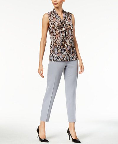 Anne Klein Bow Sleeveless Floral Top & Crepe Bowie Slim-Fit Pants