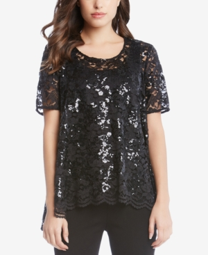 1920s Style Blouses, Shirts, Sweaters, Cardigans Karen Kane Sequin Lace Swing Top $82.99 AT vintagedancer.com