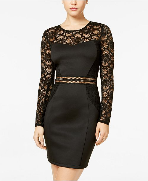 BCX Juniors' Lace & Crochet Bodycon Dress
