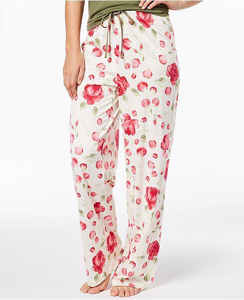 5a0a436443 ... Hue Rose-Print Pajama Pants ...