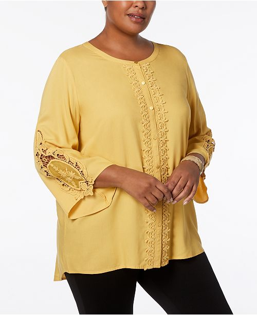 92dbdd8a836 ... JM Collection Plus Size Lace-Trim Tunic