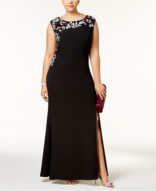 SL Fashions Plus Size Embroidered Scuba Crepe Gown & Reviews ...