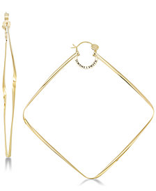 SIS by Simone I. Smith Large Geometric Hoop Earrings in 18k Gold over Sterling Silver