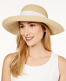 Nine West Packable Bow Scarf Floppy Sun Hat