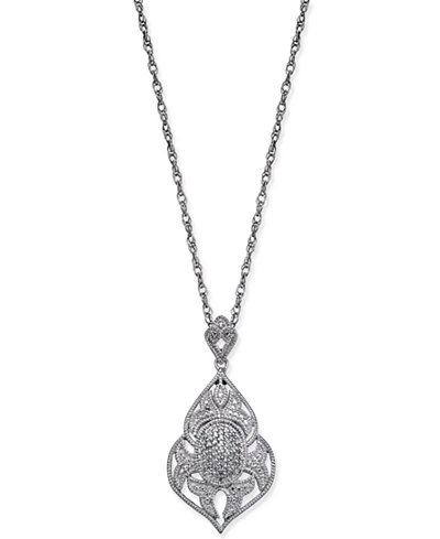 Diamond Openwork Pendant Necklace (1/7 ct. t.w.) in Sterling Silver