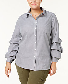 Soprano Trendy Plus Size Cotton Tiered-Sleeve Blouse
