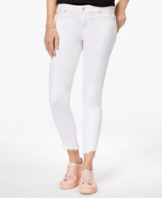 Celebrity Pink Juniors' Seamed Frayed Ankle Jeans