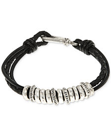 R.T. James Men's Leather Rondelle Bracelet, Created for Macy's