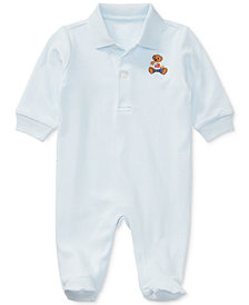 Ralph Lauren Baby Boys Embroidered Bear Cotton Coverall