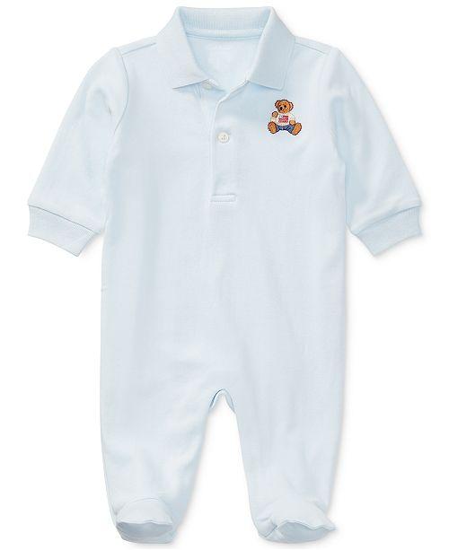 bd7217a6a7cae ... Polo Ralph Lauren Ralph Lauren Baby Boys Embroidered Bear Cotton  Coverall ...
