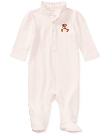 Ralph Lauren Baby Girls Embroidered Bear Cotton Coverall
