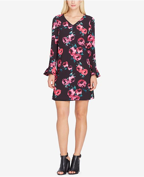 887caae5bcfe Tahari ASL Floral-Print Bell-Sleeve Shift Dress & Reviews - Dresses ...