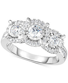 TruMiracle® Diamond Halo Trinity Ring (1 ct. t.w.) in 14k White Gold
