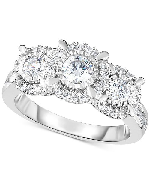 Macy's TruMiracle® Diamond Halo Trinity Ring (1 ct. t.w.) in 14k White Gold